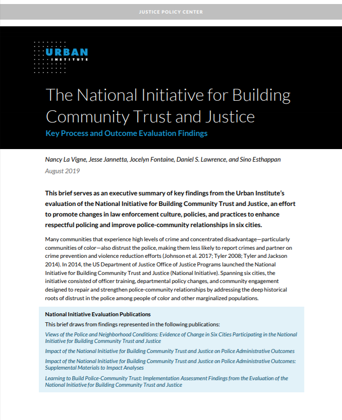 national initiative for building community trust and justice 4 cover